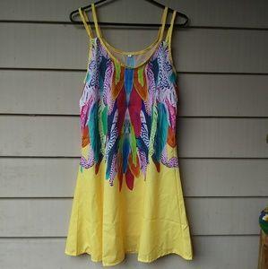 Feather printed Slip Dress Swim Cover